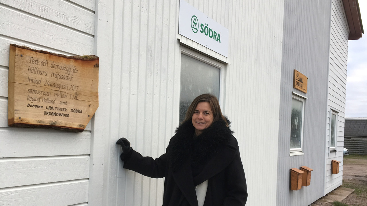 Isabella Lövin, vice statsminister vid Södras testvägg med certifierad målad panel, CMP.